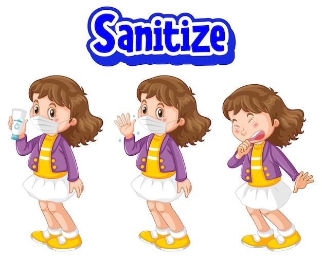 Desinfecte la fuente en estilo de dibujos animados con una niña con máscara médica