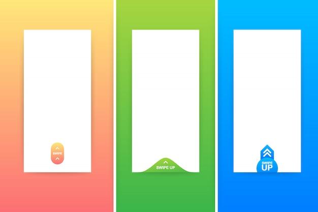 Desliza hacia arriba el conjunto de iconos aislado para el diseño de historias. sitio web, aplicación móvil, póster, folleto, cupón, plantilla de teléfono inteligente. .