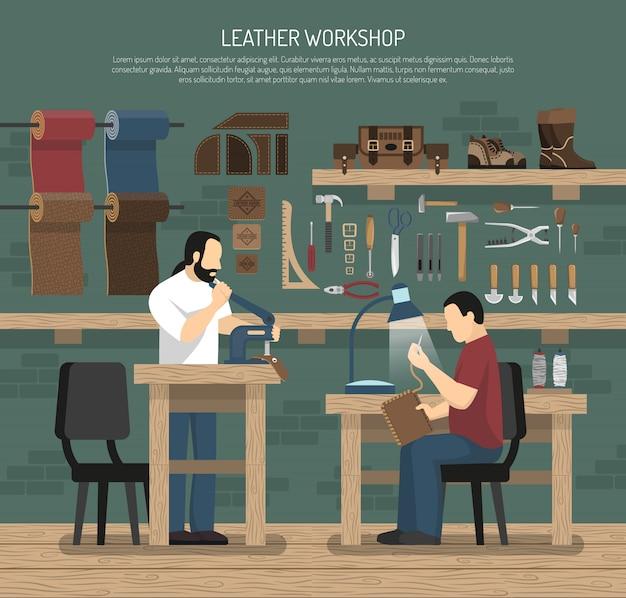 Desolladores trabajando en taller de cuero