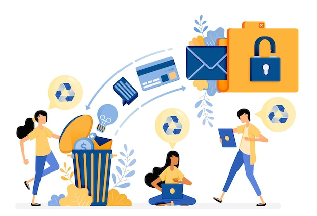Desperdiciar datos de archivo en la papelera de reciclaje