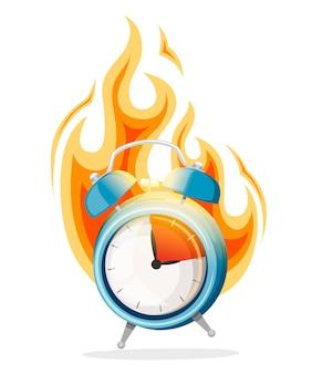 Despertador azul en un incendio