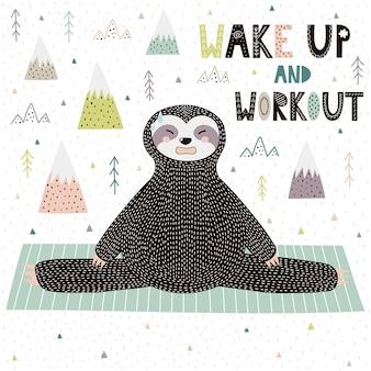 Despertador y entrenamiento motivacional con un divertido perezoso haciendo yoga.