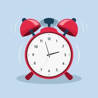 Despertador. reloj de llamada antiguo de dibujos animados para alerta matutina. ilustración de vector plano despertar símbolo o símbolo de campanas de la escuela