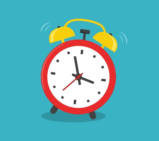 Despertador rojo hora de despertador aislado sobre fondo azul en estilo plano