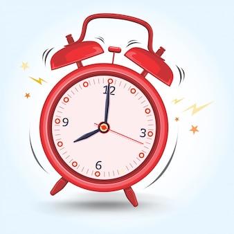 El despertador rojo suena temprano preparándose para la ilustración de la actividad de la mañana