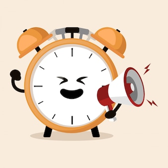 Despertador sosteniendo altavoz gritando linda mascota