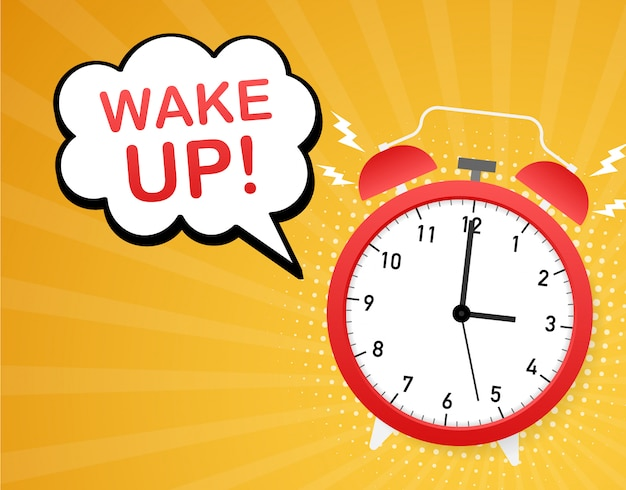 Despertar cartel con reloj despertador.