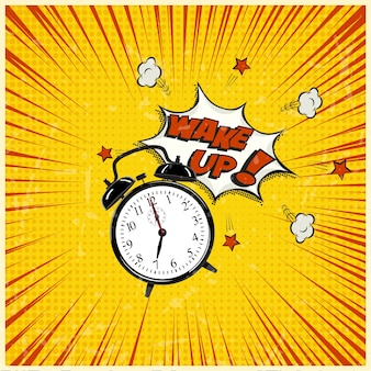 Despierta la ilustración del arte pop, reloj despertador sobre fondo grunge pelado.