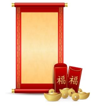 Desplazamiento chino con sobre rojo y dinero de oro