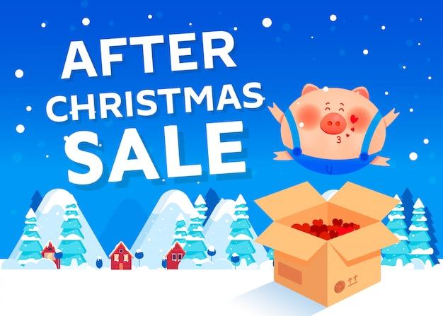 Después de la venta de navidad. cerdo sonriente saltando