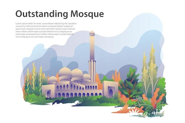 Destacado edificio emblemático islámico o mezquita para eid mubarak