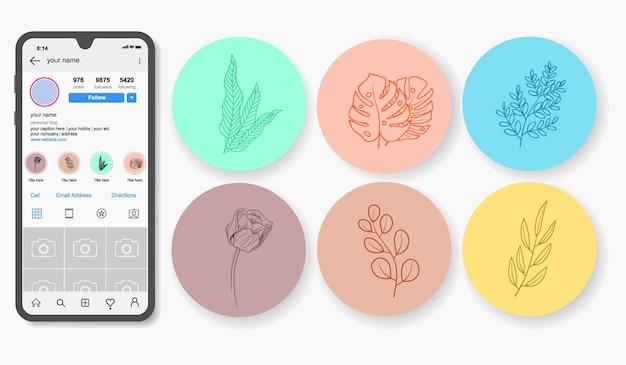 Destacados de historias florales dibujadas a mano de instagram.