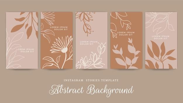 Destacados de historias florales minimalistas dibujadas a mano de instagram