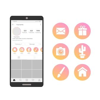 Destacados historias de gradiente de instagram con teléfono móvil
