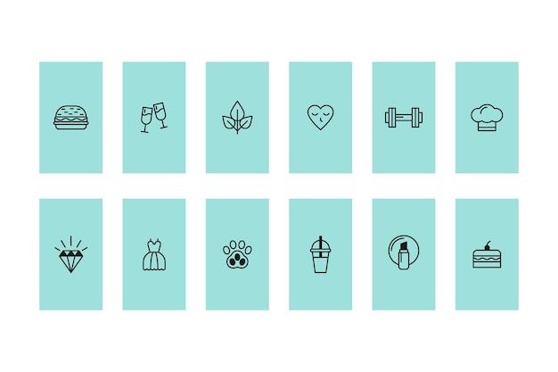 Destacados de historias de íconos de instagram