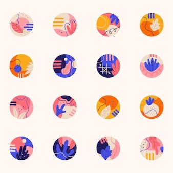 Destacados de instagram dibujados a mano abstractos