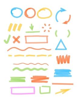 Destacados marcadores de colores. elementos de trazos de dibujo, marcos redondos y cuadrados, líneas transparentes, garabatos