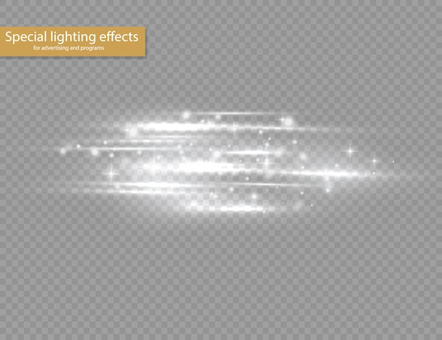 Destello de destellos blancos de lentes horizontales, rayos láser, rayos de luz horizontales, destellos de luz, línea blanca brillante sobre fondo transparente.