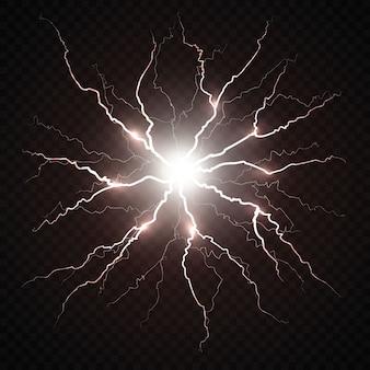 Destello eléctrico de un rayo.