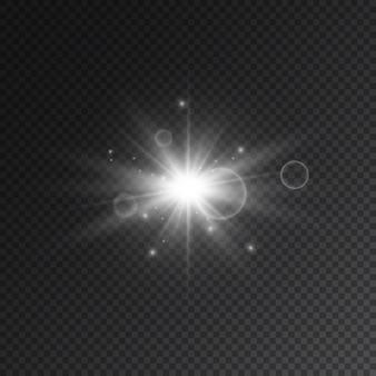 Destello de estrella transparente con spotligh y lente.