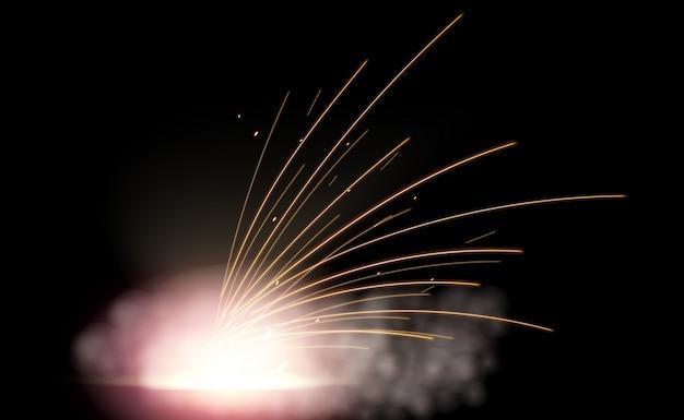 Destello de fuego de metal de soldadura eléctrica con chispas.