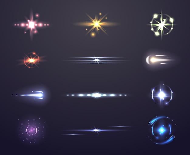 Destello de lente y brillante, conjunto de efectos de luz,