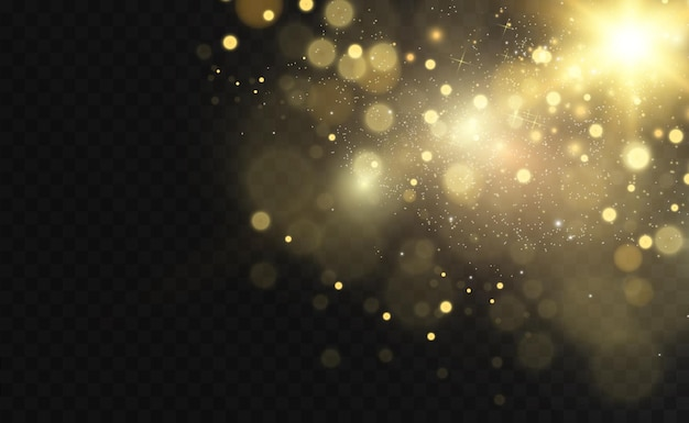Destellos dorados, magia, efecto de luz brillante sobre un fondo transparente.
