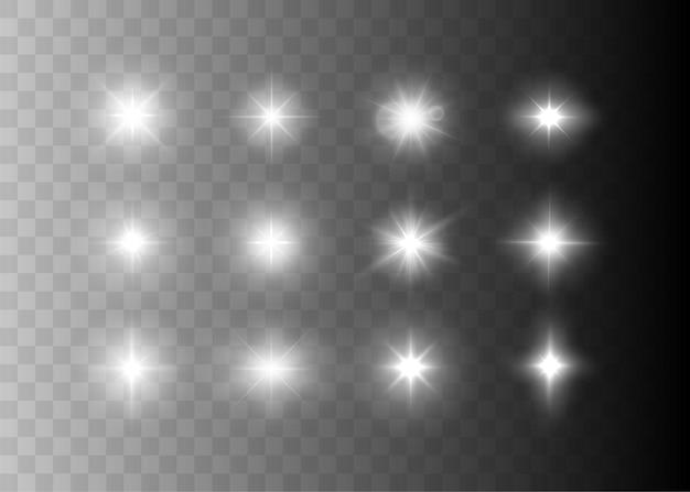 Los destellos y las estrellas aislaron efectos de luz brillantes con chispas y destellos