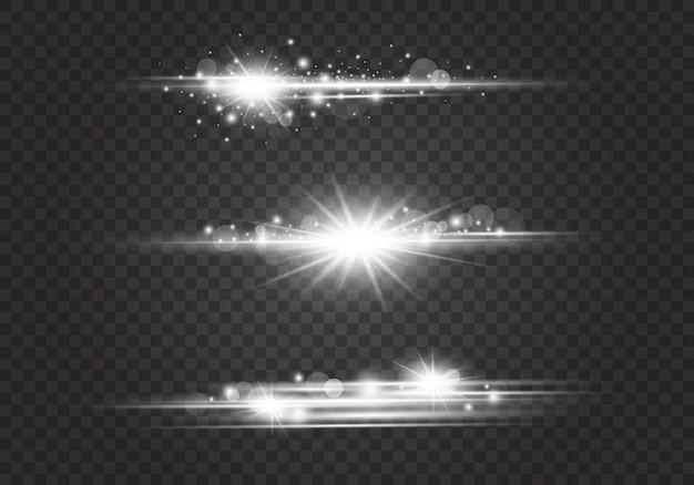 Destellos de lente y efectos de iluminación sobre fondo transparente.