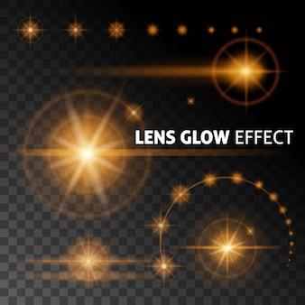 Los destellos y rayos de lentes realistas destellan con luz naranja blanca