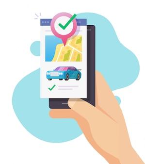 Destino de ubicación de gps del coche en el puntero de pin del mapa de la ciudad en la aplicación de teléfono móvil