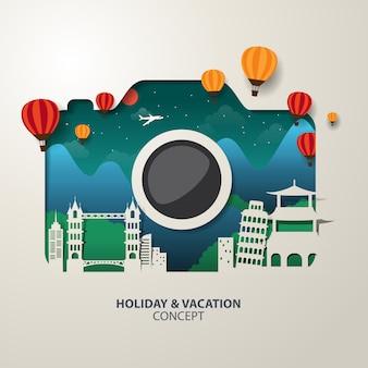Destino de viaje en forma de cámara con globos. elementos del concepto de vacaciones.