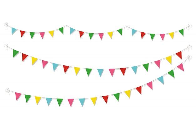 Detalle de celebración colorida guirnalda. elemento de diseño con banderas de colores.
