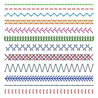 Detalle cosido patrones sin fisuras. costuras de color. borde de tela bordado