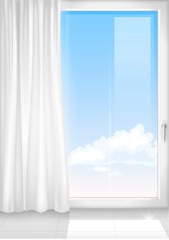 Detalle de una ventana blanca habitación.