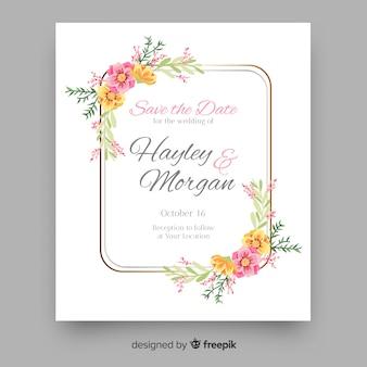 Detalles florales de la plantilla de invitación de boda