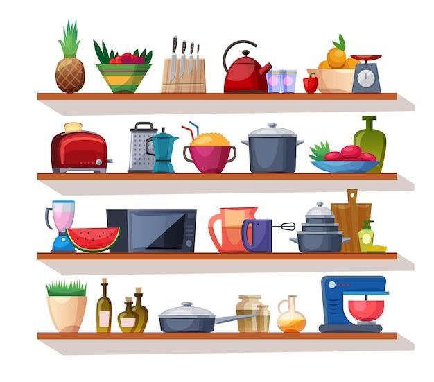 Detalles de menaje de cocina en estantes aislado sobre fondo blanco.