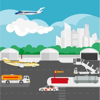 Detalles planos del aeropuerto y elementos vectoriales.