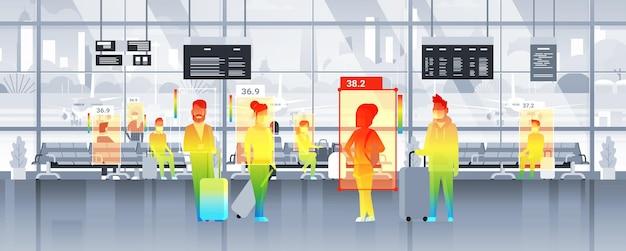 Detectando la temperatura corporal elevada de las personas que caminan en el aeropuerto, verificando mediante una cámara térmica ai sin contacto detener el concepto de brote de coronavirus ilustración vectorial horizontal