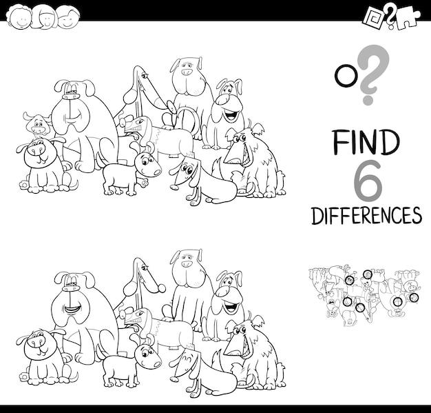 Detectar la diferencia con perros para colorear libro