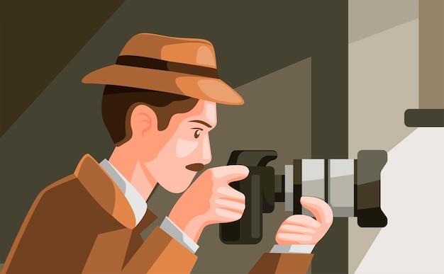 Detective espiando escondiéndose detrás de la ventana y capturando fotos con una cámara digital en la ilustración de dibujos animados