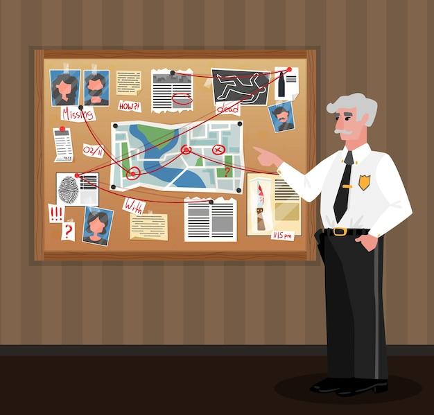 Detective mostrando tablero con pistas y sospechosos