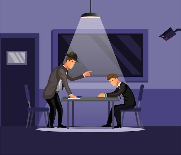 Detective de la policía hombre de intrrogación para investigar el concepto de caso de delito en dibujos animados