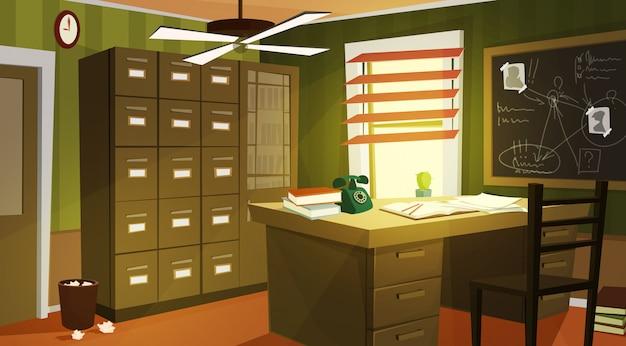 Detective privado de dibujos animados de interiores de oficina.