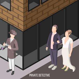 Detective privado esperando en la calle