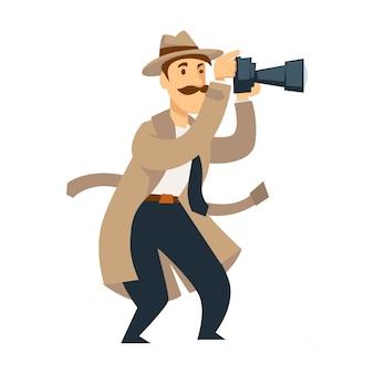 Detective privado masculino con cámara profesional realiza investigación.
