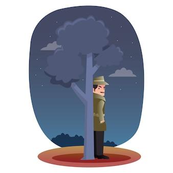 Detective profesional se esconde detrás de un árbol