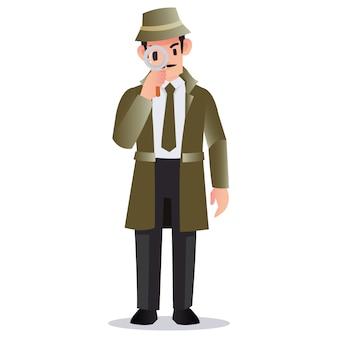 Detective profesional con una lupa para buscar evidencia