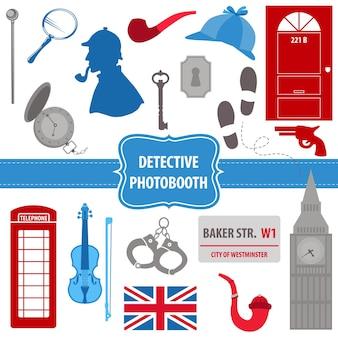 Detective sherlock party set accesorios para fotomatón