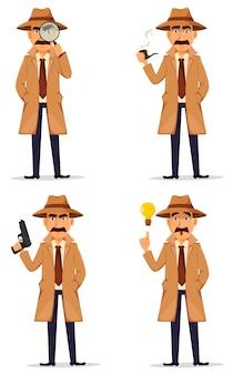 Detective en sombrero y abrigo.